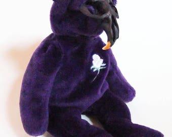 Purple Skull Teddy ~ Rogue Taxidermy ~ Weird Art Doll