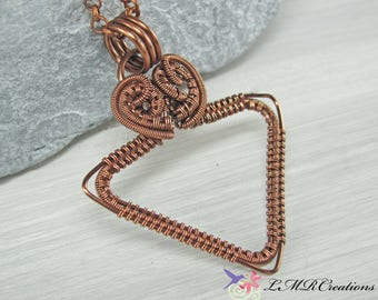 Antiqued Copper Wire Triangle Necklace,  Wire Wrapped Triangle Pendant