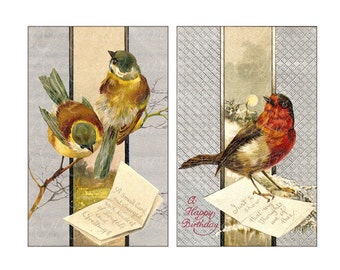 Birds Postcards Digital Collage Sheet large circle images 2 and 2.5 inch round Download and Print cardmaking decoupage jpg