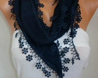 Dark Blue Floral Pashmina Scarf, Spring Scarf, Cowl Scarf with Lace Edge, gift for her- fatwoman