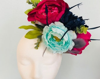Kentucky Derby Fascinator, derby fashion, thurby, headpiece, derby hat, Kentucky Derby Hat Alternative, Floral Fascinator