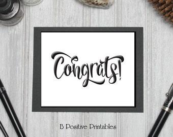 Congrats Card, Congratulations, Printable Card, Digital Card, Wedding Engagement, Instant Download, DIY Card, Brush Pen, Calligraphy Script