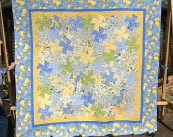 Handmade Twister Quilt.King Size Quilt. Yellow. Patchwork Quilt.Home Decor.Large Quilt.Queen Size.Unique.Blue quilt.Gift. Wedding.