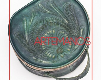 Hand Tooled// Jewelry Bag // jewelry box // Handmade // Organizer // elegant // Cute