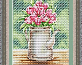 "Cross Stitch Pattern ""Aroma of spring"" DMC Cross Stitch Chart Needlepoint Pattern Embroidery Chart Printable PDF Instant Download"