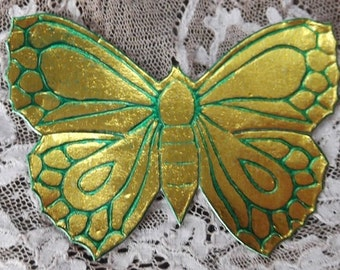 Vintage Golden Butterfly Dresden with Green Highlights - Package of 10