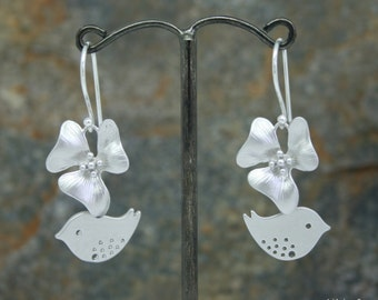 Orchid and lovebird earrings, wedding earrings, orchid earrings, bridesmaid earrings