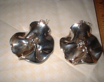 Large Silver Modern Art Flower Earrings VERY LIGHT by Artisan
