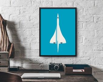 Concorde Jet Airplane Aircraft Minimal Retro Poster Art Print