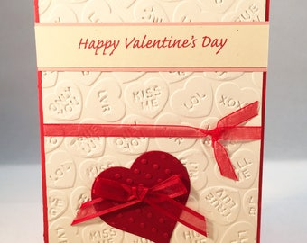 Valentines card, Happy Valentines Day, love card, hearts card, handmade card, card for loved one, friendship card, MADE TO ORDER