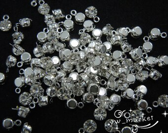 100 Crystal Clear Sparkle Rhinestone Dangle Silver Beads SS16