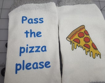 Custm made Pizza Socks Gift for him or her fun photo opportunity  ** FATHERS DAY SALE**