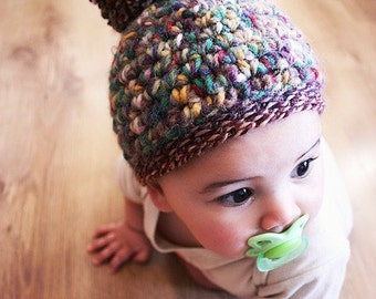6 to 12m Autumn Hat Pom Pom Baby Hat Elf Beanie Baby Crochet Unisex Brown Red Yellow Green Pom Pom Hat Fall Photo Prop  Christmas Baby Gift
