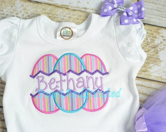 Girls Easter Shirt personalized, girls Easter outfit personalized, Embroidered girls Easter Shirt with name, easter egg outfit girl