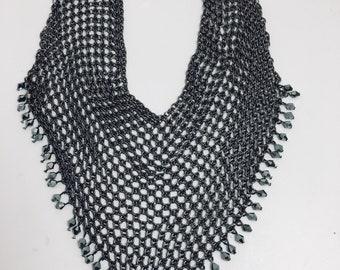 Vintage en maille métal perle de cristal cascade garniture collier plastron RAS de cou haut de gamme rétro années 80 Disco Fashionista Glam Art déco rétro Boho Coachella