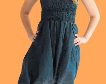 Convertable Aladdin/drop crotch pants & Romper - blue and black striped (O/S)