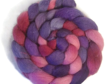 Handpainted BFL Wool Roving - 4 oz. METEOR SHOWER - Spinning Fiber