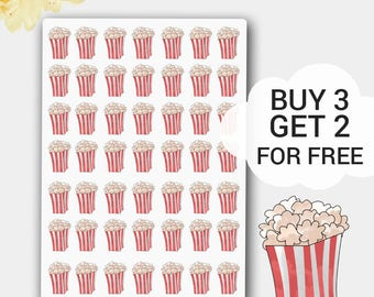 Popcorn Stickers, Popcorn Kawaii, Popcorn Planner Stickers