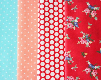 Fabric Bundle Precut 1/2 Yard Each Print 2 Yard Total - Multi