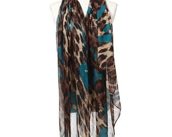 Womens Scarf, Brown Scarf, Leopard Print Scarf, Blue Scarf, Fashion Scarf, Chiffon Scarf, Cotton Scarf