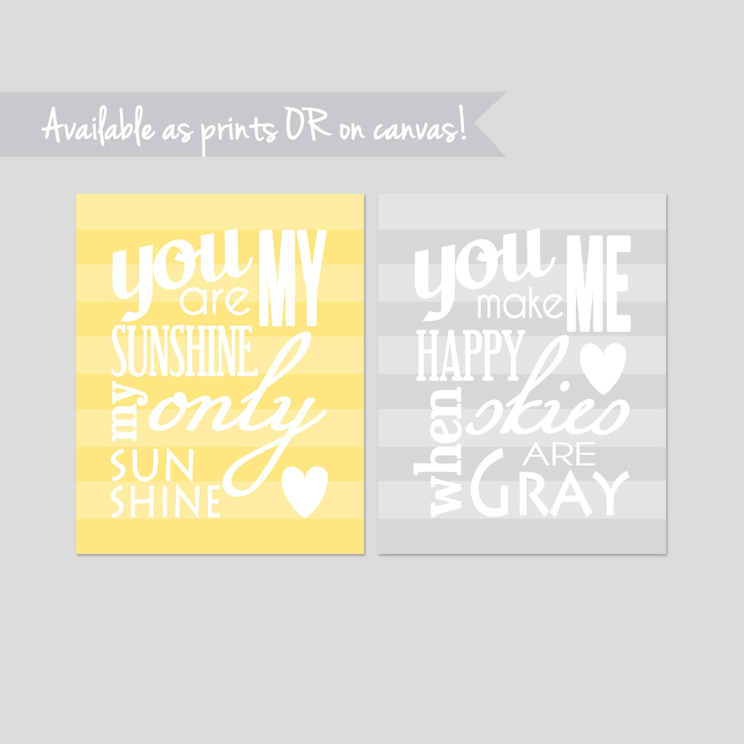 You Are My Sunshine Wall Art Print Set of Two You Are My
