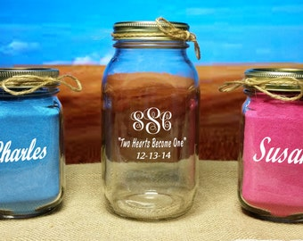 NokNoks Sand Unity Ceremony, Redneck 3 Piece set - WITHOUT SAND - Monogrammed - Mason Jars - wedding