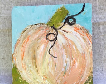 """Fall Pumpkin painting on 6x6 wood panel 1.5"""" thick"""