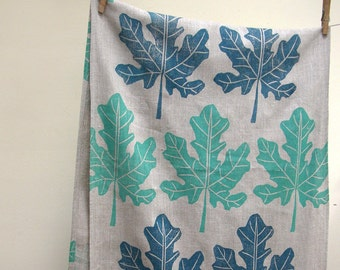 Fig Leaf hand block printed natural gray brown linen botanical home decor table runner