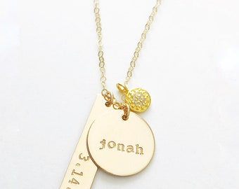 Push Present, New Mom Gift, New Mom Necklace, Gold Name Necklace, Name Necklace, Diamond Name Necklace, Diamond Pendant, Birthdate Necklace