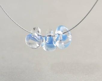 Lampwork Bead, Blue Clear Bead, Summer Bead, 10mm Glass Bead, One