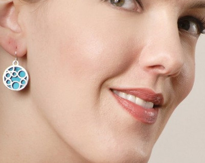 Medium round bubble earrings in aqua