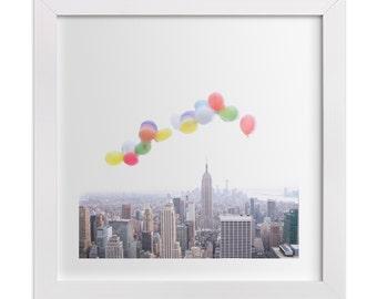 Balloons Over Manhattan - Photography of New York City skyline - urban wall decor - nyc print - whimsical - minimal art