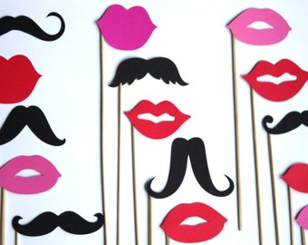 20 PhotoBooth Props- Lips and Mustaches Props and Wedding Props - Photo Props- E