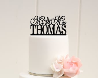 Customized Wedding Cake Topper, Starfish Wedding Cake Topper, Mr and Mrs Cake Topper, Beach Wedding Topper, Personalized Wedding Cake Topper
