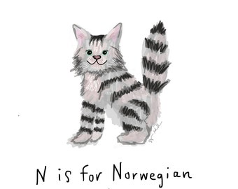 N is for Norwegian Forest Cat Print
