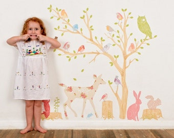 Fabric Wall Decal - Woodland Scene Girly (reusable) NO PVC