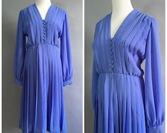 Vintage 1970 does 1940s Periwinkle Chiffon Dress 70s Day Dress Tea Dress Long Sleeve Swing Dress Purple Romantic Flirty Dress 1930s 40s