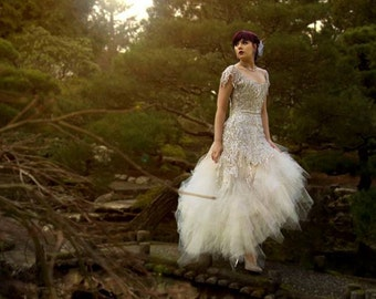 Sequin Ruffle Tulle Wedding gown, Made from Vintage Flapper Style Dress.
