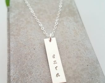 Personalized Name Necklace - Vertical Bar Necklace, Gift for Moms, Sterling Silver, Gift for Her S1129