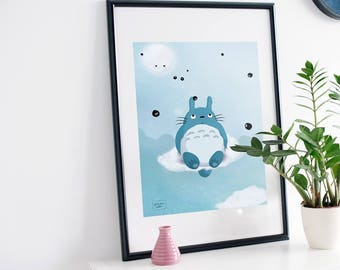 Totoro fanart - illustration print
