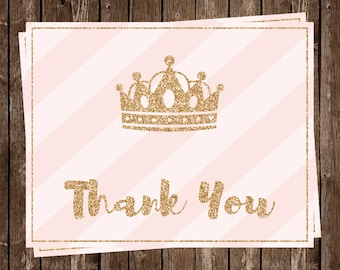 Princess Thank You Cards, Baby Shower, Birthday, 1st Birthday, Glitter, Gold, Pink, Crown, Little Princess, Pretty Princess, 20 Printed Card