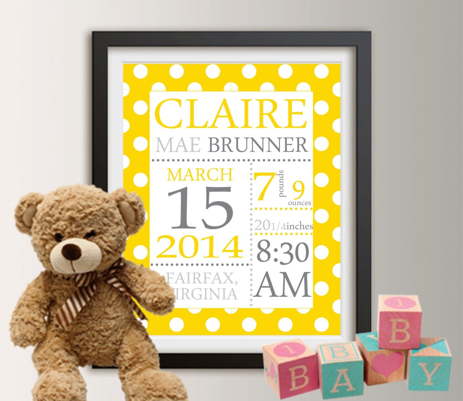 Birth announcement wall art baby birth stats birth stats