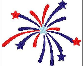 Fill Embroidery Design, Fireworks, 4th of July, USA, File, Digital, Download, Machine