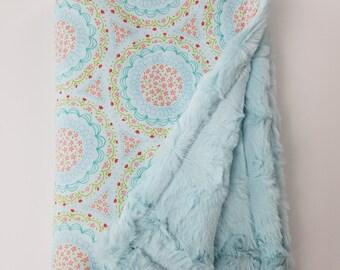 Aqua Floral Print Minky Baby Blanket