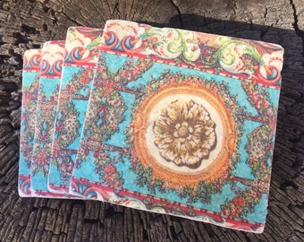 Coaster Set-Boho Coaster Set-Travertine tiles-Housewarming gift- Coaster set-Farmhouse Decor-Wedding gift- flower coaster set