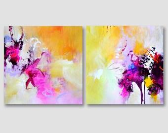 2 delen oorspronkelijke abstract schilderij op papier, acrylschilderijen, originele abstracte kunst, moderne papier schilderij, gele fuchsia schilderij