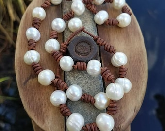 Knotted  Leather neclace with Cultured Pearls