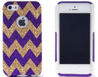 iPhone X - iPhone 8/8 Plus - iPhone 7/7 Plus iPhone 5/5S 6/6 Plus Otterbox Case - Chevron Print Purple/Gold iPhone 5/5S 6/6 Plus Commuter