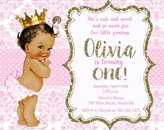 Princess, Pink and Gold Invitation, Baby, Gold Glitter, 1st Birthday Invitation, Girl Birthday Invitation - Printable or Printed