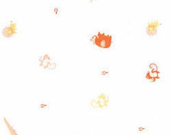 Sale! 1/2 yard Clothworks Organic Fabric OOP Picnic Pals by Alyssa Thomas of penguin & fish Children Baby